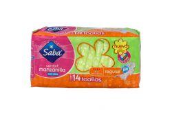 Saba Confort Con Alas Manzanilla Bolsa Con 14 Toallas