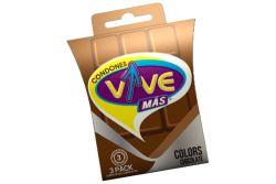 Condones VIVE COLORS Caja Con 3 Piezas Con Color Y Aroma a Chocolate