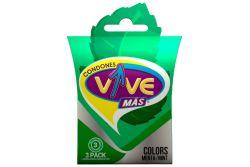 Condones VIVE COLORS Caja Con 3 Piezas Con Color Y Aroma a Menta