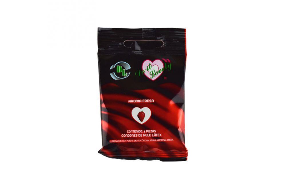 Preservativo DL Empaque Con 3 Piezas Olor Fresa