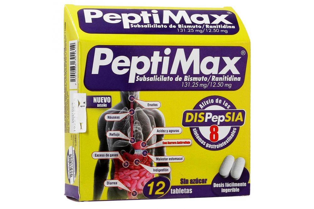 PeptiMax 131.25 mg / 12.5 mg Caja Con 12 Tabletas