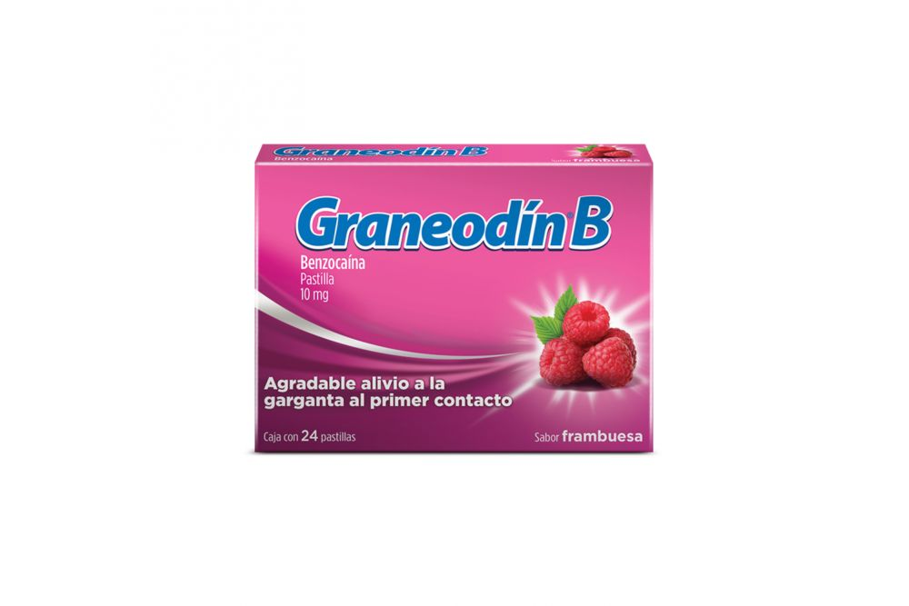 Graneodín B Caja Con 24 Pastillas Sabor Frambuesa