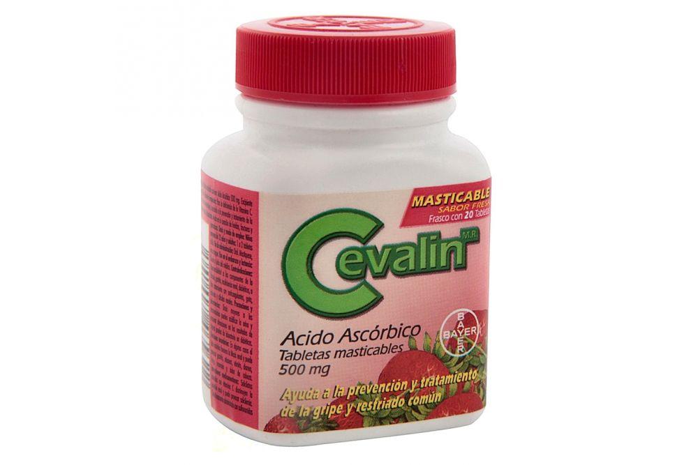 Cevalin 500 mg Frasco Con 20 Tabletas Masticables Sabor Fresa