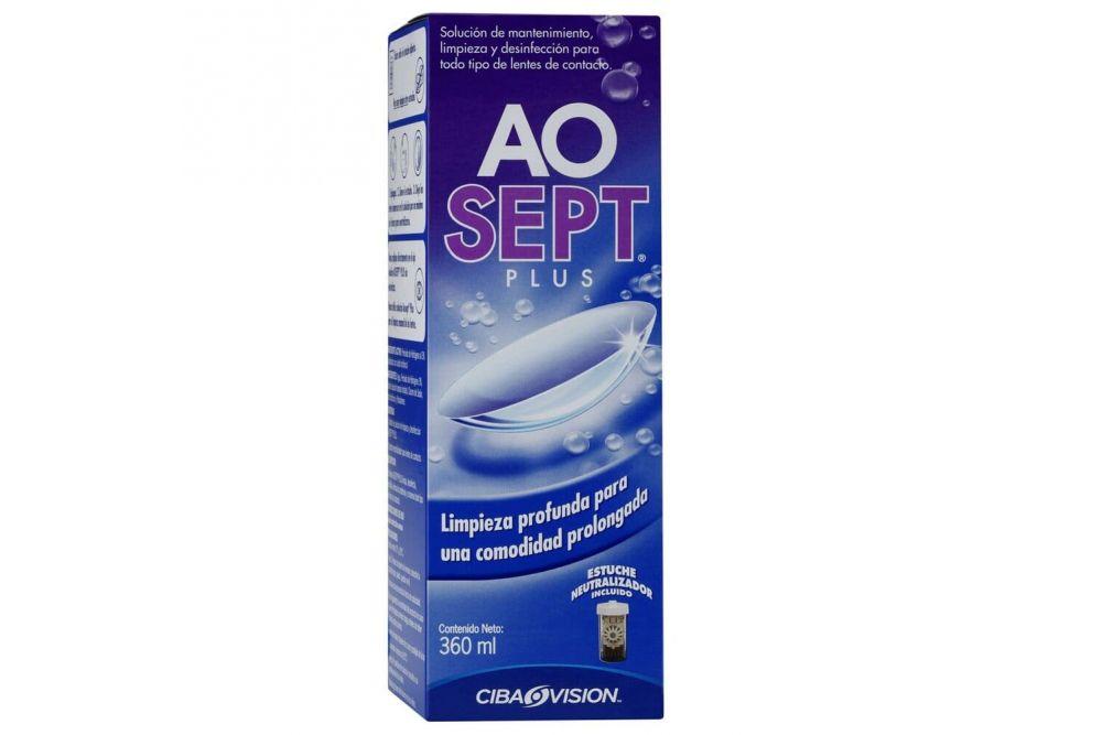 AO Sept Plus Solución Caja Con Frasco De 360 mL y Un Estuche