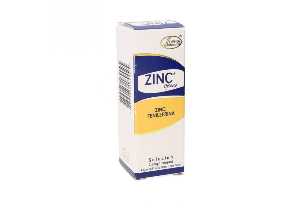 Zinc Ofteno 2.5mg/1.2mg/mL Caja Con Frasco Gotero Con 15mL