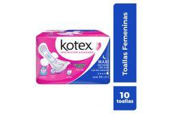 KOTEX MAXI PARA EL DÍA Y LA NOCHE PAQUETE CON 10 TOALLAS FEMENINAS