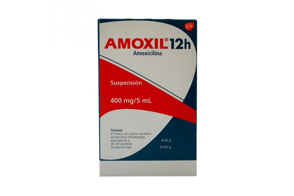 Amoxil 12H 400 mg/ 5 mL Suspensiòn Caja con Frasco Con 50 mL RX2