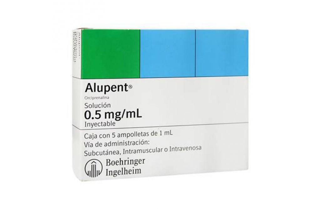 Alupent Solución 0.5 mg /mL Caja con 5 ampolletas de 1 mL