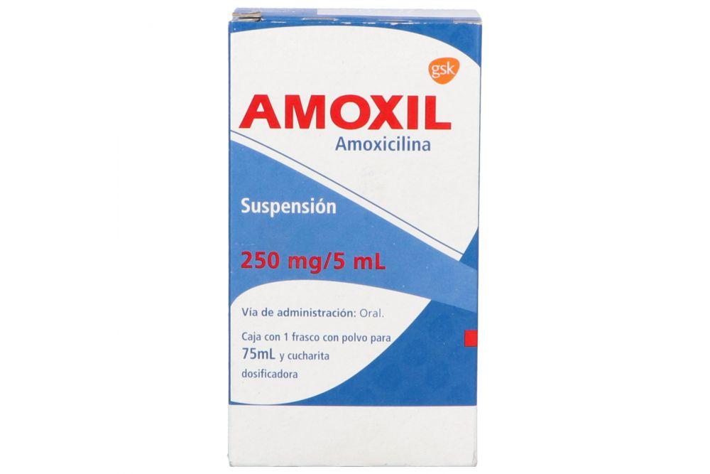Amoxil Suspensión 250mg/5mL Caja Con Frasco Con Polvo Para 75mL - RX2