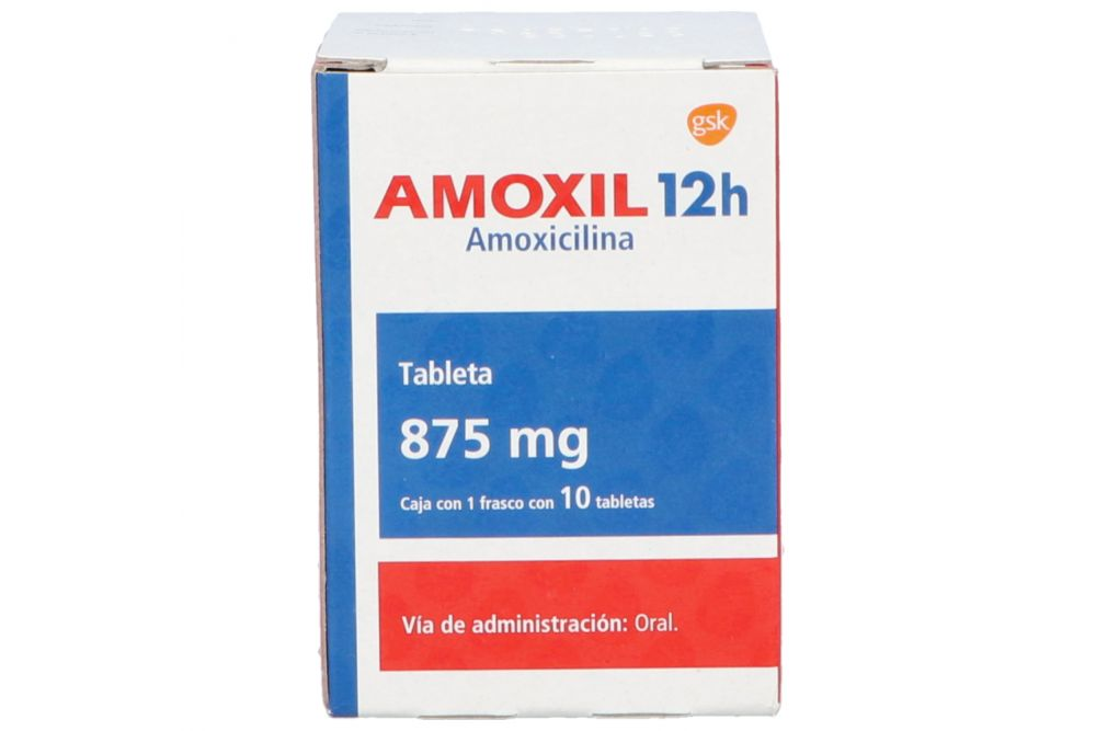 Amoxil 12 H 875 mg Caja Con 10 Tabletas -RX2