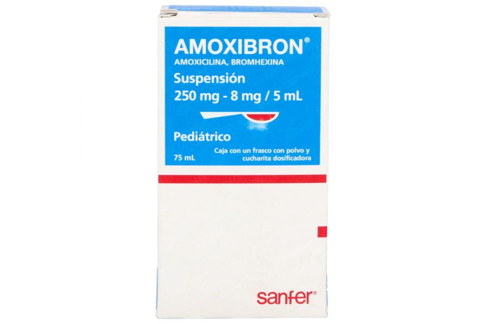 Amoxibron Suspensión 250 mg/8 mg/5 mL Frasco Para 75ml RX2