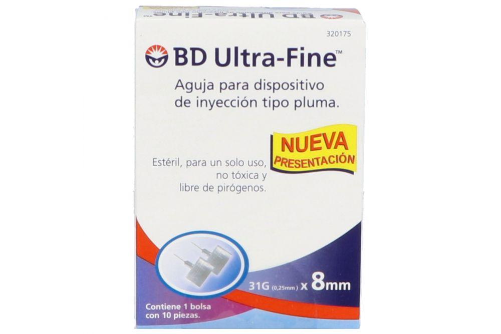 BD Ultra Fine Aguja 1 Bolsa Con 10 Piezas 31Gx8mm