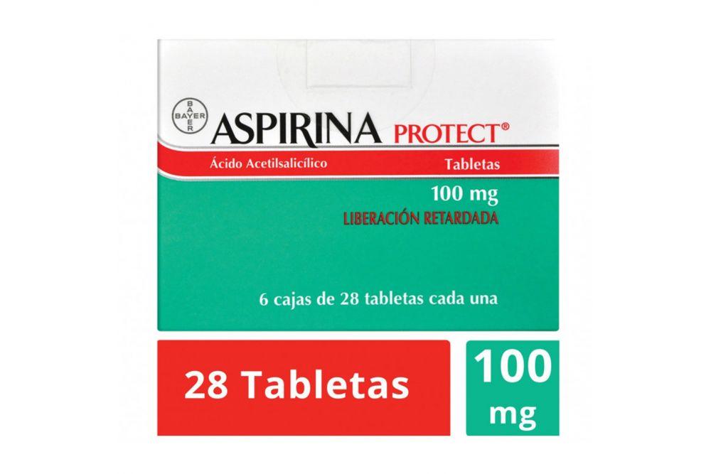 Aspirina Protect 100 mg 6 cajas con 28 tabletas cada una