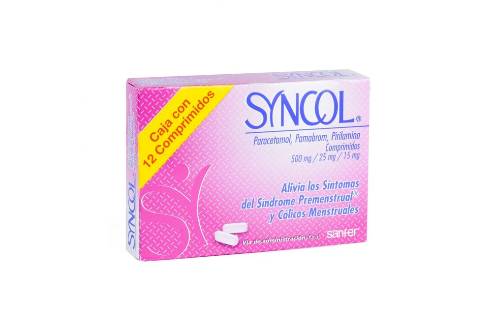 Syncol 500 mg /25 mg /15 mg Caja Con 12 Comprimidos