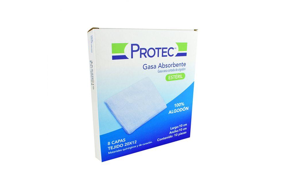 Protec Gasa Absorbente Estéril 10X10m Caja Con 10 Piezas