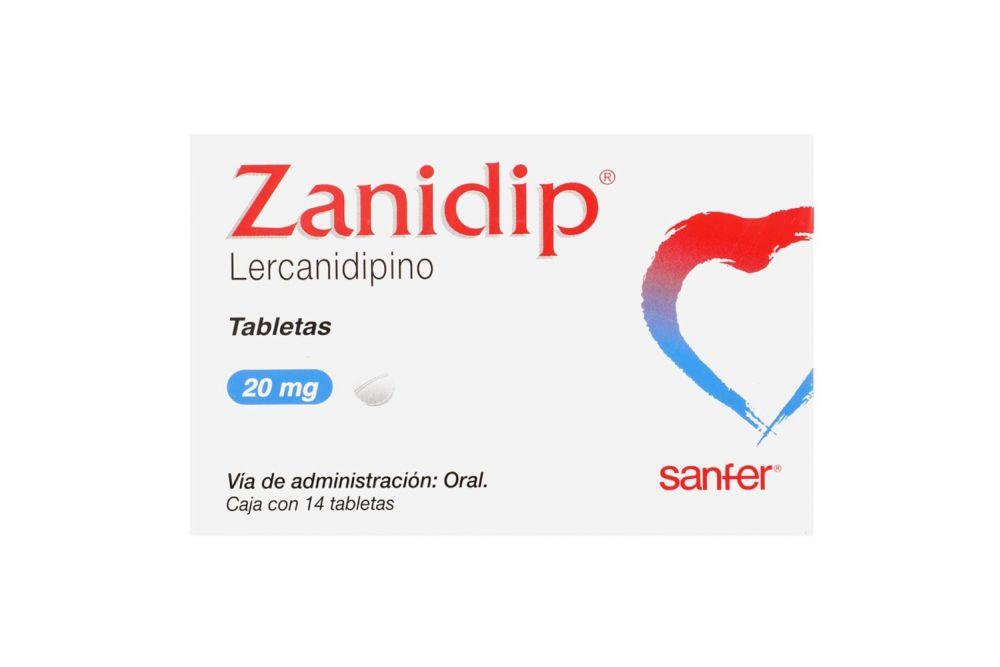 Zanidip 20 mg Caja Con 14 Tabletas