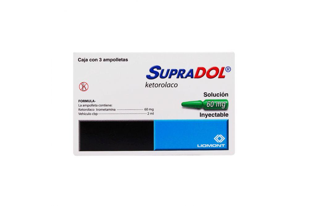 Supradol Solución Inyectable 60 mg Caja Con 3 Ampolletas