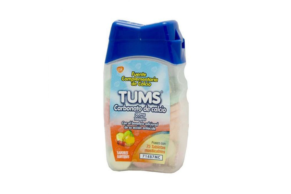 Tums 500mg Frasco Con 75 Tabletas Masticables Varios Sabores