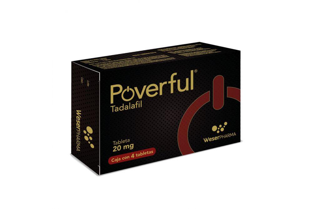 Poverful 20 mg Caja Con 4 Tabletas