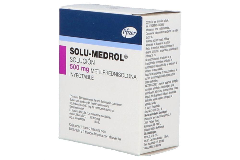 Solu-Medrol 500 mg Caja Con 1 Frasco Ámpula Con diluyente  y Liofilizado