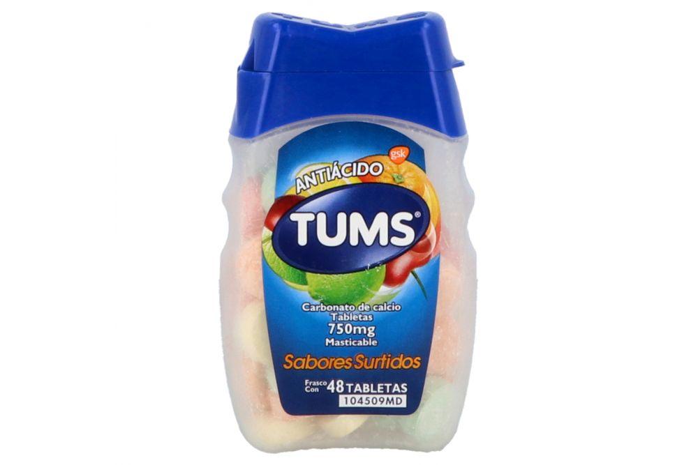 Tums Extra 750mg Frasco Con 48 Tabletas Masticables Varios Sabores