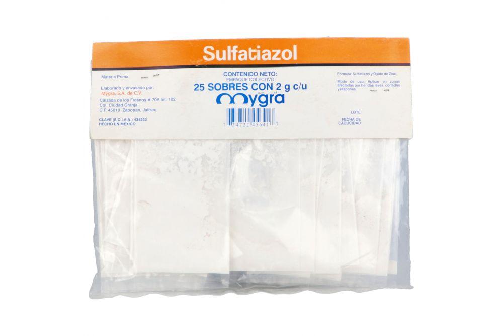Sulfatiazol Polvo Bolsa Con 25 Sobres De 2 g Cada una