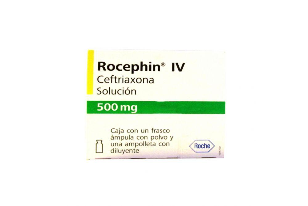 Rocephin .5 g IV Frasco Ámpula Y Ampolleta Con Diluyente - RX2
