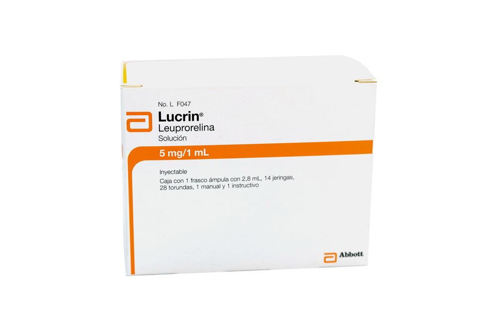 Lucrin 5mg/1mL Kit Caja con 1 Frasco Ámpula Con 2.8ml 14 Jeringas, 28 Torundas