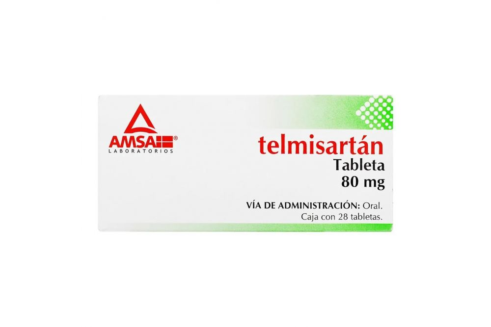 Telmisartán 80 mg Caja Con 28 Tabletas