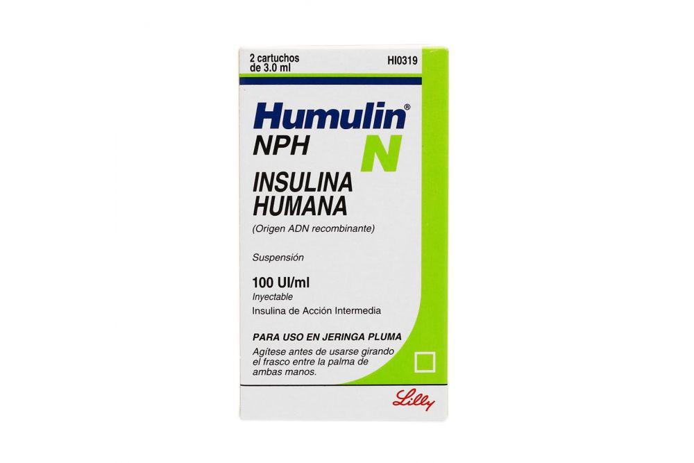 Humulin NPH Suspensión Inyectable Caja Con 2 Cartuchos Con 3 mL RX3