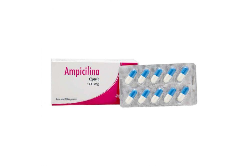 Ampicilina Cápsula 500 mg Caja Con 20 Cápsulas - RX2