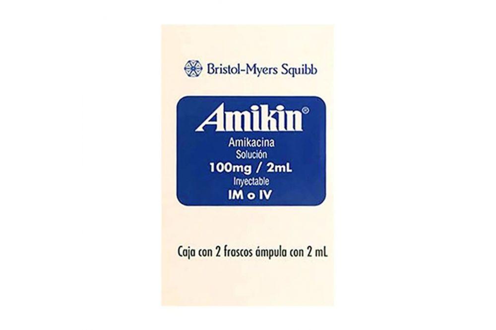 Amikin 100 mg /2 mL Caja Con 2 Frascos Ámpula Con 2mL -RX2