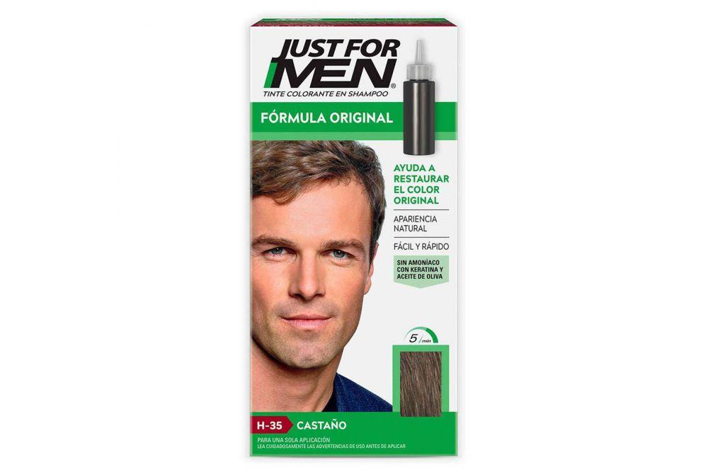 Just For Men Caja Con Tinte Colorante En Shampoo Con 60mL Color Castaño
