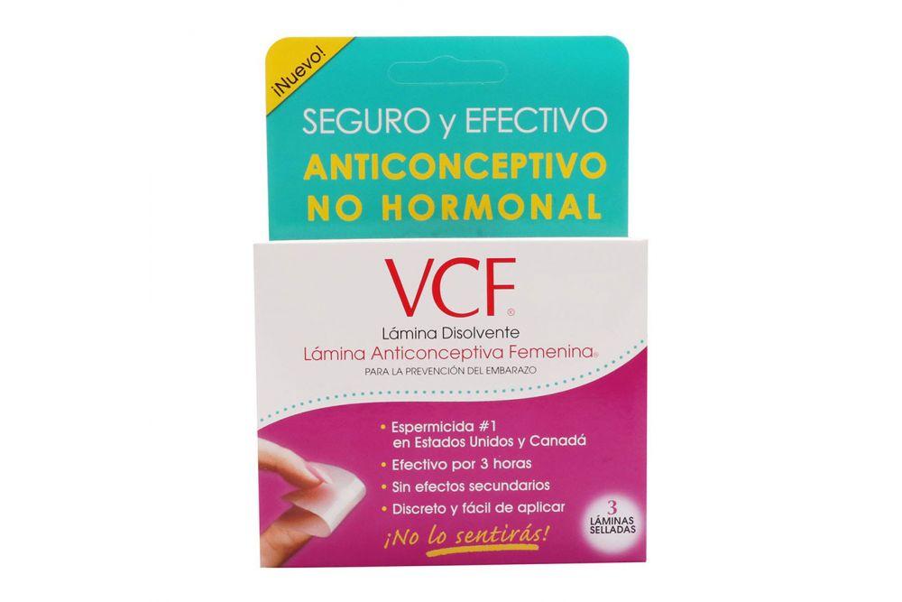 VCF Lámina Anticonceptiva Femenina Caja Con 3 Piezas + 2 Condones
