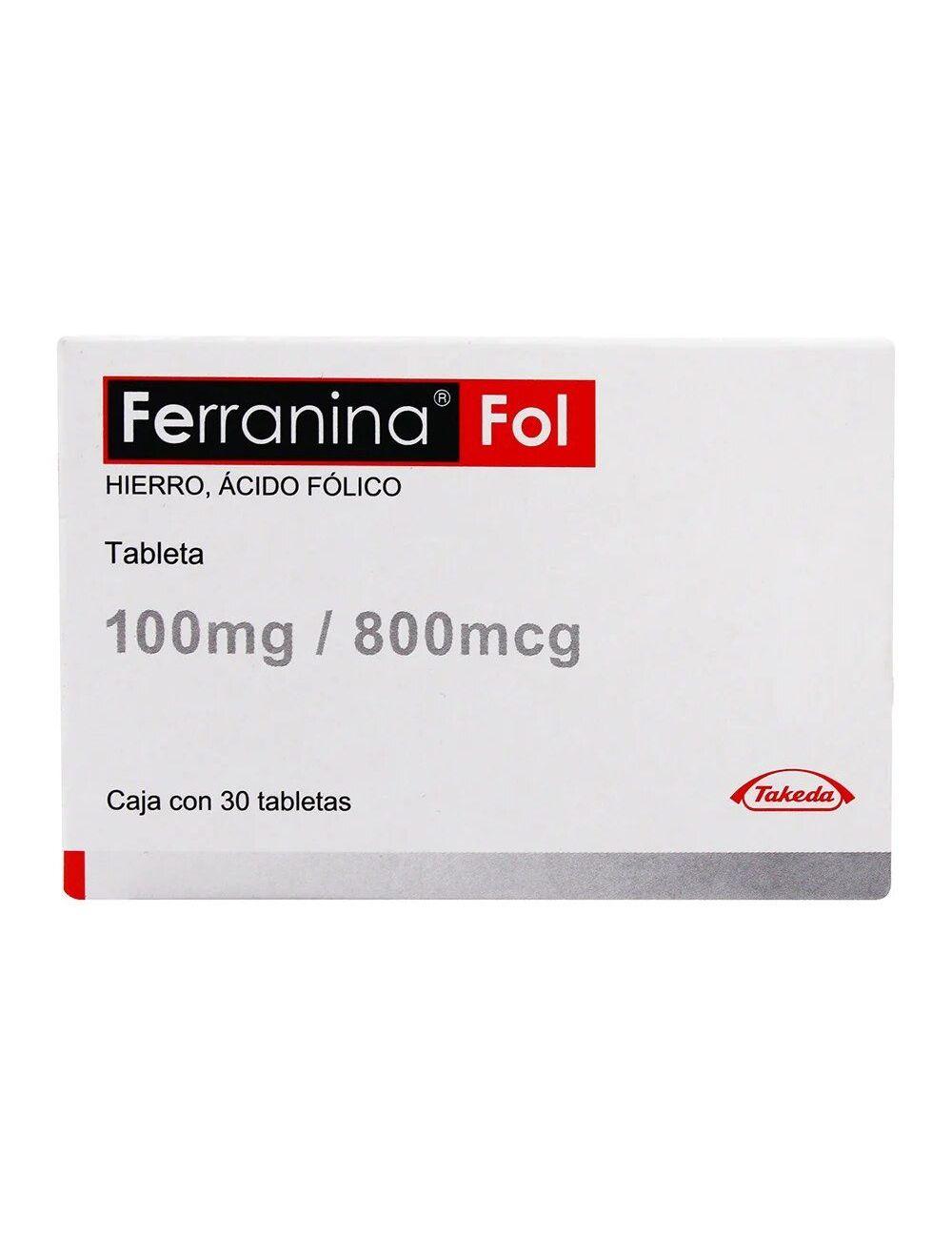 Ferranina Fol 100 mg / 800 mcg Caja Con 30 Tabletas