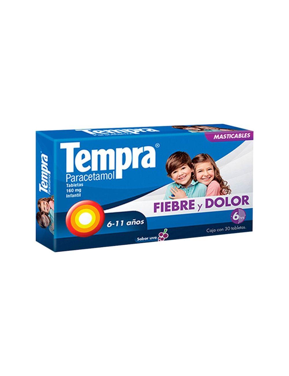 Tempra Infantil 160 mg Caja Con 30 Tabletas Sabor Uva